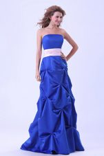 Bridesmaid Dress in Blue with Pick-ups and Sash