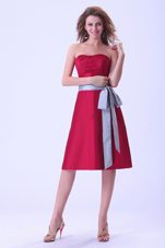 Wine Red with bow Knee-length Bridesmaid Dress 2013