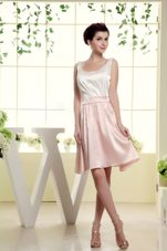 White and Baby Pink Scoop Bridesmaid Dress Mini-length