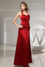 Wine Red Satin Bridesmaid Dress Column with Halter