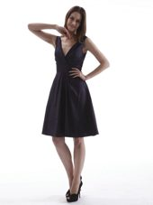 V-neck Homecoming Dress in Dark Purple and Sash 2013