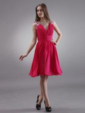 Coral Red V-neck Beading Shoulders Bridesmaid Dress
