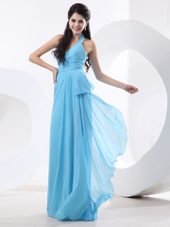 Bridesmaid Dress With Ruching Halter Baby Blue