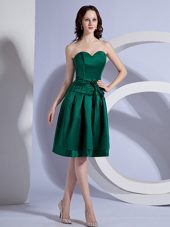 Cocktail Dress with Bow Decorate Bodice in Green