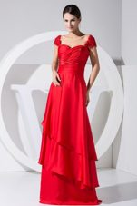 Beading Red Column Brush Train Prom Dress 2013 Ruched