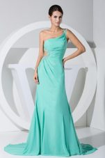 Brush Train Prom Dress Beading One Shoulder Turquoise