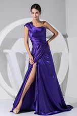 One Shoulder Prom Dress High Slit Purple Brush Train