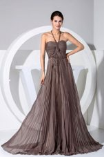 Halter Pleat Brown Brush Train Prom Dress in Summer