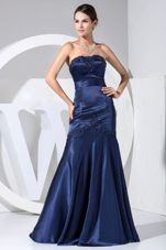Applique Decorate Bodice Prom Dress Navy Blue Strapless