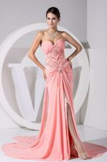 High Slit Pink Sweetheart Ruche Brush 2013 Prom Dress
