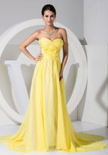 Sweetheart Neckline Brush Train Prom Dress 2013 Yellow