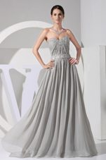 Applique Prom Dress Beading Grey Floor-length Sweetheart