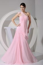 One Shoulder Pink Floor-length 2013 Prom Dress in Spring