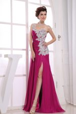 Appliques One Shoulder High Slit Prom Dress