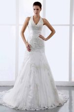 Halter Top Appliques Modern Wedding Dress Tulle Train