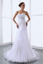 Hand Made Flowers Wedding Dress Sweetheart Chapel Train