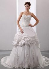 Pick-ups Sweetheart Wedding Dress Taffeta 2013 Court Train