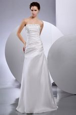 Ruched Taffeta Strapless Beaded Elegant 2013 Bridal Dress