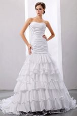 Mermaid Wedding Dress Ruffles Taffeta Court Train Ruched