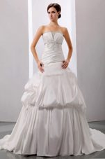 Beading Court Train Wedding Dress 2013 Taffeta Plus Size