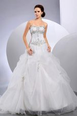 Organza Appliques Wedding Dress 2013 Court Train Ball Gown