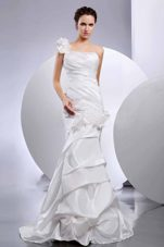 Mermaid One Shoulder Wedding Dress Hand Made Flowers 2013