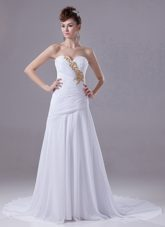 Beaded Elegant Wedding Dress Appliques Chiffon Court Train