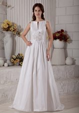 Elegant Bateau Wedding Dress Taffeta Train Hand Made Flower