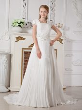 Pleated Square Chiffon Beading Wedding Dress Court Train