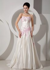 Classic Colorful Appliques Wedding Dress 2013 Satin Train