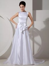 Bateau Satin Sash Wedding Dress Brush Train Elegant 2013