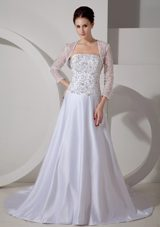 2013 Plus Size Embroidery Wedding Bridal Dress Satin Train