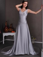 Sliver V-neck Chapel Train Beading Elegant Wedding Dress