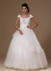 Short Sleeves Scoop Appliques Beaded Perfect Wedding Dress