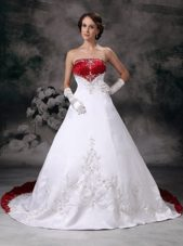 Red and White Embroidery Wedding Dress Satin Court Train