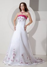 Colored Embroidery Wedding Dress Elegant Brush Train Satin