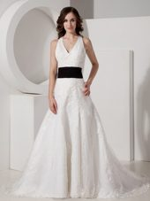 Halter Court Train Lace Appliques Belt 2013 Wedding Dress