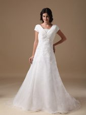 Elegant V-neck Wedding Bridal Dress 2013 Appliques Train
