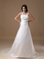 Square Lace Straps Beading Wedding Dress Taffeta Court Train