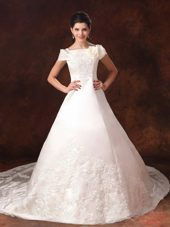 Cathedral Train Lace Wedding Dress Off The Shoulder Appliques