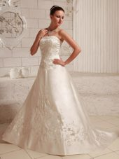 Ivory Satin Embroidery Bridal Wedding Dress Court Train 2013