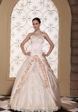 One Shoulder Champagne Wedding Dress Hand Made Flowers Gown