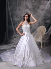 Embroidery Halter Chapel Train Satin Beading Wedding Dress