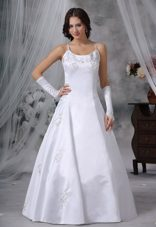 Spaghetti Straps Ball Gown Satin Embroidery Wedding Dress