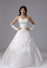 Plus Size Brush Train Wedding Dress Embroidery Ball Gown