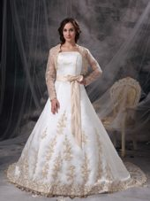 Colored Sash Embriodery Wedding Dress Satin Court Train