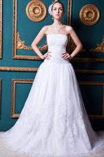 Ruched Organza Lace Wedding Bidal Dress 2013 Court Train