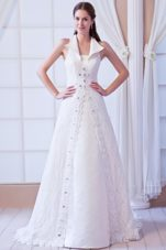 Affordable Square Court Train Lace Beading Wedding Dress