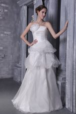 A-Line Srapless Chapel Train Satin Beading Wedding Dress