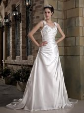 A-line Ruched Wedding Dress with Straps and Chapel Train